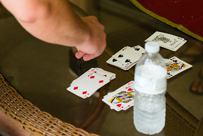 Playing cards that Brad Williams uses to determine his workout during his stay at the All About Recovery younger men's home in Loxahatchee, FL on Tuesday, May 24, 2016. If Williams draws a spade, he does push-ups based on the number on the card. Diamonds are for curls, clubs for incline push-ups, hearts for overhead press.
