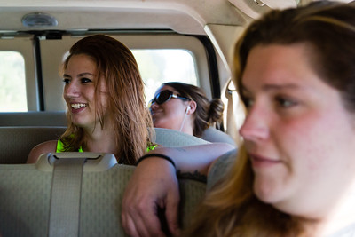 Shelby Sparrow (left), Jennifer L. (center) and Ashlie Brassbridge ride in the sober home van to their appointment at the All About Recovery Intensive Outpatient Program center in Royal Palm Beach, Florida on Tuesday, May 31, 2016. (Joseph Forzano / The Palm Beach Post)