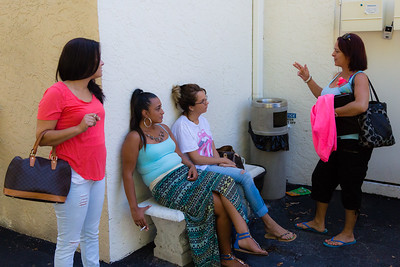 From left to right: Amy Kilgore, Mariana Lovecchio, Eva Derrickson and Nita Reach chat and smoke outside the All About Recovery Intensive Outpatient Program center in Royal Palm Beach, Florida on Tuesday, May 31, 2016. They are waiting for their therapy session to begin.  (Joseph Forzano / The Palm Beach Post)