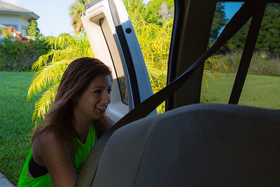 Sober home resident Shelby Sparrow climbs into the van, which will take the residents to All About Recovery's Intensive Outpatient Program at the main office in Royal Palm Beach, Florida on Tuesday, May 31, 2016. (Joseph Forzano / The Palm Beach Post)