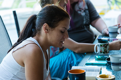 Amy Kilgore, 37, of Philadelphia, Pennsylvania, reads the morning meditation at the All About Recovery younger women's sober home in Loxahatchee, Florida on Tuesday, May 31, 2016. Kilgore is a recovering heroin addict and has been in the sober home since March 2016.  (Joseph Forzano / The Palm Beach Post)