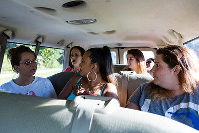 From left to right: Eva Derrickson, Amy Kilgore, Mariana Lovecchio, Shelby Sparrow, Jennifer L. and Ashlie Brassbridge ride in the passenger van to their scheduled appointment at the All About Recovery Intensive Outpatient Program center in Royal Palm Beach, Florida on Tuesday, May 31, 2016. (Joseph Forzano / The Palm Beach Post)