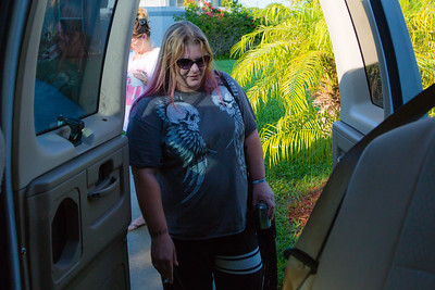 Tabitha Franks, 31,  of Loxahatchee, prepares to climb into the van, which will take the residents to All About Recovery's Intensive Outpatient Program at the main office in Royal Palm Beach, Florida on Tuesday, May 31, 2016. (Joseph Forzano / The Palm Beach Post)