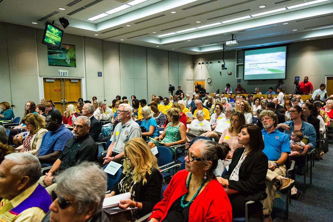 The South Florida Water Management District's B-1 Auditorium was full during the monthly Governing Boarding Meeting on Thursday, July 14, 2016, because speakers were expected to talk about the ongoing algae problem.   (Joseph Forzano / The Palm Beach Post)