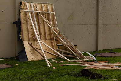 The remains of the roof from the scaled-down model house used in the hurricane-force wind test at Wall of Wind laboratory at the FIU Engineering Center in Miami Dade on Wednesday, July 27, 2016. FIU hosted a demonstration to show the impact of hurricane-force winds on a scaled down model home. (Joseph Forzano / The Palm Beach Post)