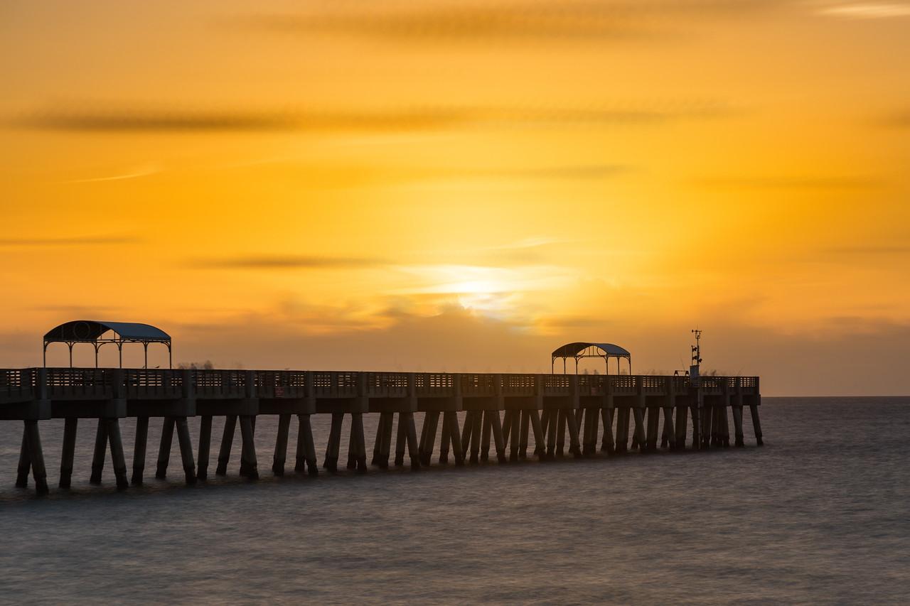 Sunrise over the Lake Worth Pier, Lake Worth Florida on Friday, August 8, 2016. (Joseph Forzano / The Palm Beach Post)