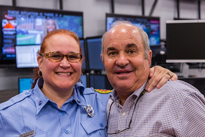 Dispatcher Melissa Behn and Bob Stephens on Thursday, August 25, 2016 at the Palm Beach County Dispatch Center in West Palm Beach. Stephens called 911 when his wife Carrie started hemorraging in their home in Boca Raton on January 15, 2016 and Behn talked him through slowing the bleeding until Palm Beach County Fire Rescue could arrive to take her to the hospital where she received a transfusion which saved her life. (Joseph Forzano / The Palm Beach Post)