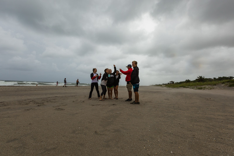 Jeff Sward, Rebekah Sward, Sarah Sward, Rachel Sward and Jacob and Cheryl Bramos take selfies on Delray Beach as Hurricane Matthew approaches the South Florida coastline. (Joseph Forzano / The Palm Beach Post)