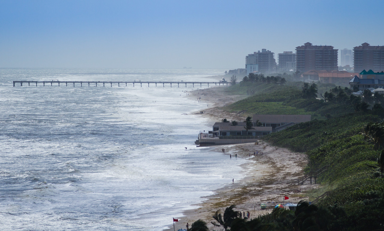 The Juno Pier and beach as seen from the 12th story of the Ocean Trail Condominiums on Wednesday, October 12, 2016. (Joseph Forzano / The Palm Beach Post)