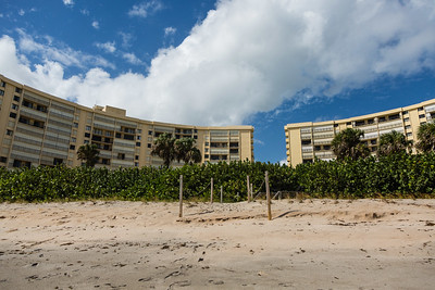 The view of the Ocean Trail Condominium from the beach on Wednesday, October 12, 2016. Gary Freedman and his wife Ruth chose to stay in their condo during Hurricane Matthew after an evacuation order was issued. (Joseph Forzano / The Palm Beach Post)