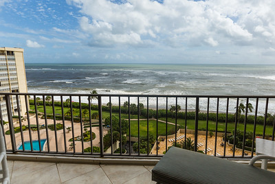 The view of the Atlantic Ocean from Gary and Ruth Freedman's 12th story balcony at the Ocean Trail Condominium on Wednesday, October 12, 2016. The Freedman's chose to stay in their condo during Hurricane Matthew after an evacuation order was issued. (Joseph Forzano / The Palm Beach Post)