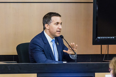 Palm Beach County State Attorney Dave Aronberg is on the stand on Friday, October 28, 2016  in a lawsuit where he is accused of improperly firing Assistant State Attorney Angela Miller while Miller was undergoing cancer treatment. (Joseph Forzano / The Palm Beach Post)