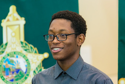 Robinson Accelon of Lake Worth received a Good Samaritan award from the Palm Beach County Sheriff's Office at the Palm Beach County Convention Center in West Palm Beach on Thursday, November 3, 2016. Accelon stood up to his older brother, who was threatening the lives of his siblings. Accelon confronted his older and bigger brother and was able to keep his younger siblings safe until PBSO arrived and placed the older brother into custody. (Joseph Forzano / The Palm Beach Post)