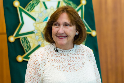 "Margaret Fisher, of Lake Worth received a Good Samaritan award from the Palm Beach County Sheriff's Office at the Palm Beach County Convention Center in West Palm Beach on Thursday, November 3, 2016. Fisher saw a ""Silver Alert"" on The Palm Beach Post website and called PBSO after seeing the missing man in Greenacres. (Joseph Forzano / The Palm Beach Post)"