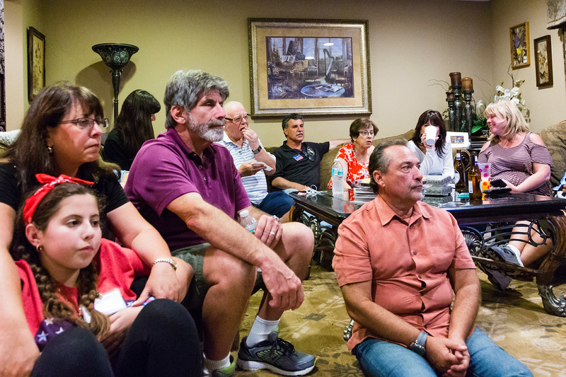 Gregg Lerman (center) watches with family and friends from his house in Palm Beach Gardens on Tuesday, November 8, 2016. Lerman is running for County Court Judge Group 11 against Dana Santino. (Joseph Forzano / The Palm Beach Post)