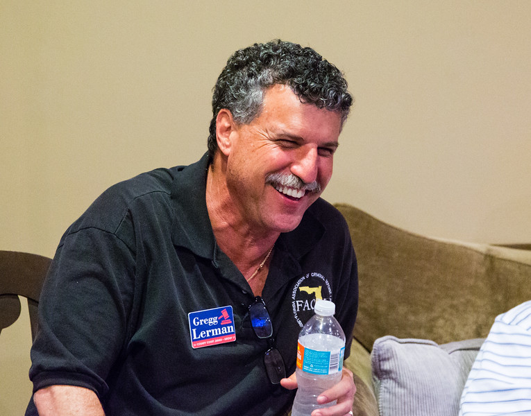 Gregg Lerman watches as voting results come in from his house in Palm Beach Gardens on Tuesday, November 8, 2016. Lerman is running for County Court Judge Group 11 against Dana Santino. (Joseph Forzano / The Palm Beach Post)