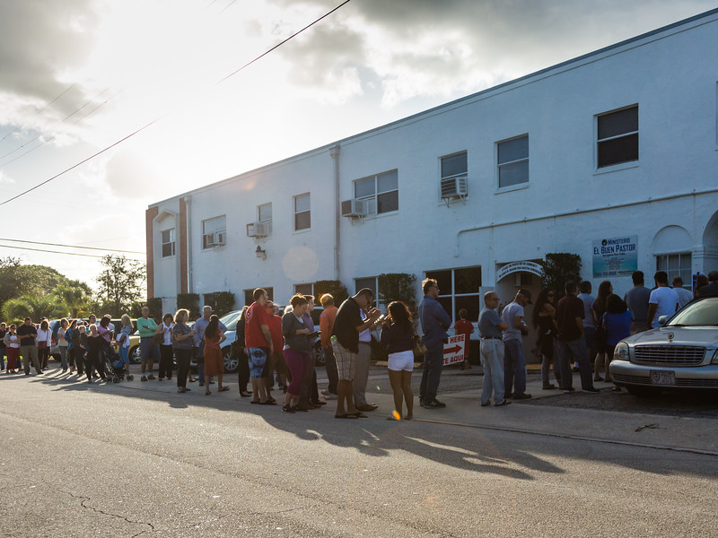 Voters line up outside St. Luke AME Church (Precinct) 2136) on the corner of Garden Avenue and Kaye Street, in West Palm Beach on Election Day Morning, Tuesday, November 8, 2016. (Joseph Forzano / The Palm Beach Post)