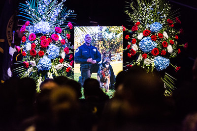A photo of Boynton Beach Police K9 Officer Joseph Crowder and his K9 partner Daxxx at Crowder's memorial at Christ Fellowship Church in Boynton Beach on Thursday, January 5, 2016. Crowder  died suddenly while jogging in December 2016. (Joseph Forzano / The Palm Beach Post)