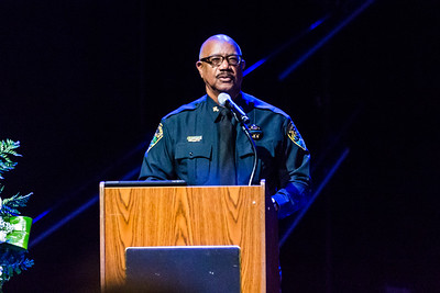 Chaplain Woodrow Hay speaks at Boynton Beach Police K9  Officer Joseph Crowder's memorial at Christ Fellowship Church in Boynton Beach on Thursday, January 5, 2016. Crowder  died suddenly while jogging in December 2016. (Joseph Forzano / The Palm Beach Post)