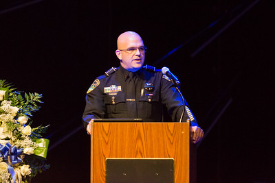 Boynton Beach Police Chief Jeffrey Katz speaks at Boynton Beach Police K9 Officer Joseph Crowder's memorial at Christ Fellowship Church in Boynton Beach on Thursday, January 5, 2016. Crowder  died suddenly while jogging in December 2016. (Joseph Forzano / The Palm Beach Post)