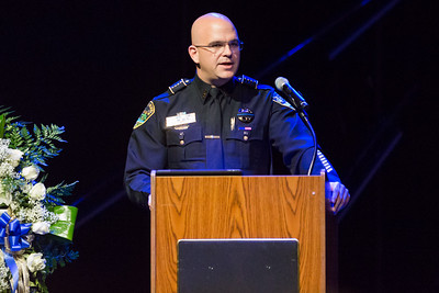 Boynton Beach Police Chief Jeffrey Katz speaks at Boynton Beach K9 Police Officer Joseph Crowder's memorial at Christ Fellowship Church in Boynton Beach on Thursday, January 5, 2016. Crowder  died suddenly while jogging in December 2016. (Joseph Forzano / The Palm Beach Post)