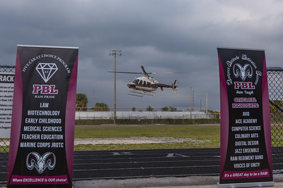 Nick Saban, head coach of the Alabama Crimson Tide arrives by helicopter at Palm Beach Lakes Community High School on Friday, January 27, 2017. Saban flew in to talk to Rams coaches about potential recruits. (Joseph Forzano / The Palm Beach Post)