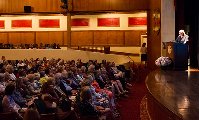 Martha Stewart takes questions from the audience after a talk with members of The Garden Club of Palm Beach at the Gubelmann Auditorium at the Society of the Four Arts in Palm Beach on Thursday, February 23, 2017. (Joseph Forzano / Daily News)