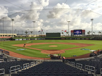 The ground crew is at work on the field at The Ballpark of the Palm Beaches in West Palm Beach on opening day of Spring Training, Tuesday, February 28, 2017. (Joseph Forzano / The Palm Beach Post)