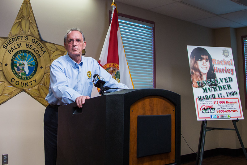Palm Beach County detective William Springer gives an update on the 27 year-old cold case murder of Rachel Hurley at the Palm Beach County Sheriff's Office on Friday, March 17, 2017. On St. Patrick's Day in 1990, 14 year-old Hurley was raped and killed in Jupiter.  (Joseph Forzano / The Palm Beach Post)