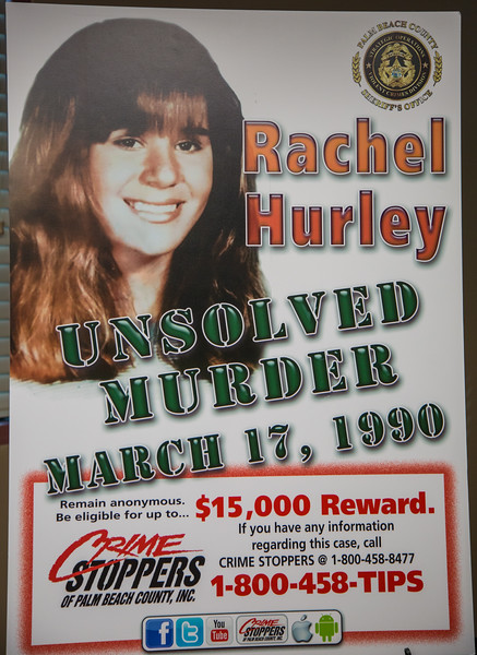 A new unsolved murder poster of Rachel Hurley was on display at the Palm Beach County Sheriff's Office on Friday, March 17, 2017, during a press conference with Palm Beach County detective William Springer. Springer gave an update on the 27 year-old cold case murder of Rachel Hurley. On St. Patrick's Day in 1990, 14 year-old Hurley was raped and killed in Jupiter.  (Joseph Forzano / The Palm Beach Post)