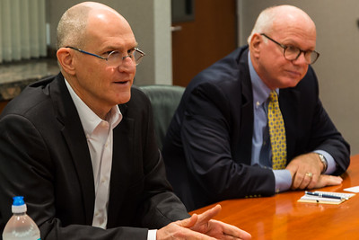 Mike Reininger, Executive Director of Florida East Coast Industries (left) and Dennis Grady, President and CEO of the Chamber of Commerce of the Palm Beaches (right) speak with the The Palm Beach Post Editorial Board on Thursday, March 23, 2017 in West Palm Beach Florida. (Joseph Forzano / The Palm Beach Post)