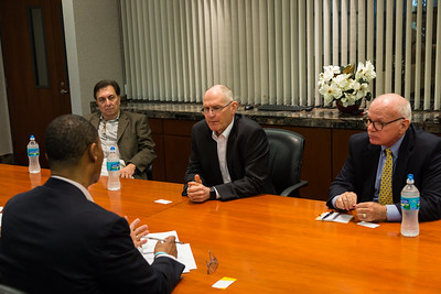 Myles Tobin, Legal Counsel for All Aboard Florida/Brightline (left), Mike Reininger, Executive Director of Florida East Coast Industries (center) and Dennis Grady, President and CEO of the Chamber of Commerce of the Palm Beaches (right) speak with the The Palm Beach Post Editorial Board on Thursday, March 23, 2017 in West Palm Beach Florida. (Joseph Forzano / The Palm Beach Post)