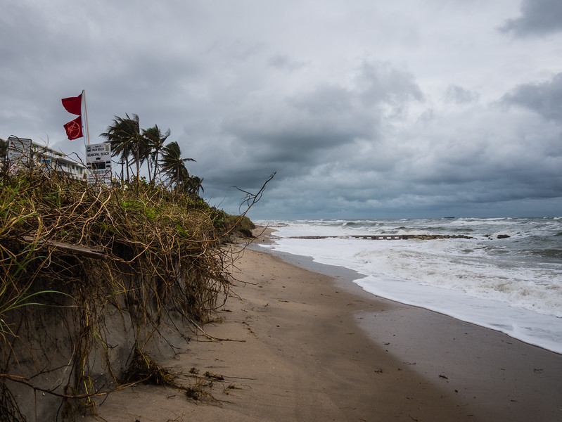 Heavy seas are causing erosion at Midtown Beach in Palm Beach on Thursday, October 5, 2017. Palm Beach County will experience gusty winds and rain for the next several days from a tropical wave, which should clear the area Friday but leave trailing showers in its wake. (Joseph Forzano / The Palm Beach Post)