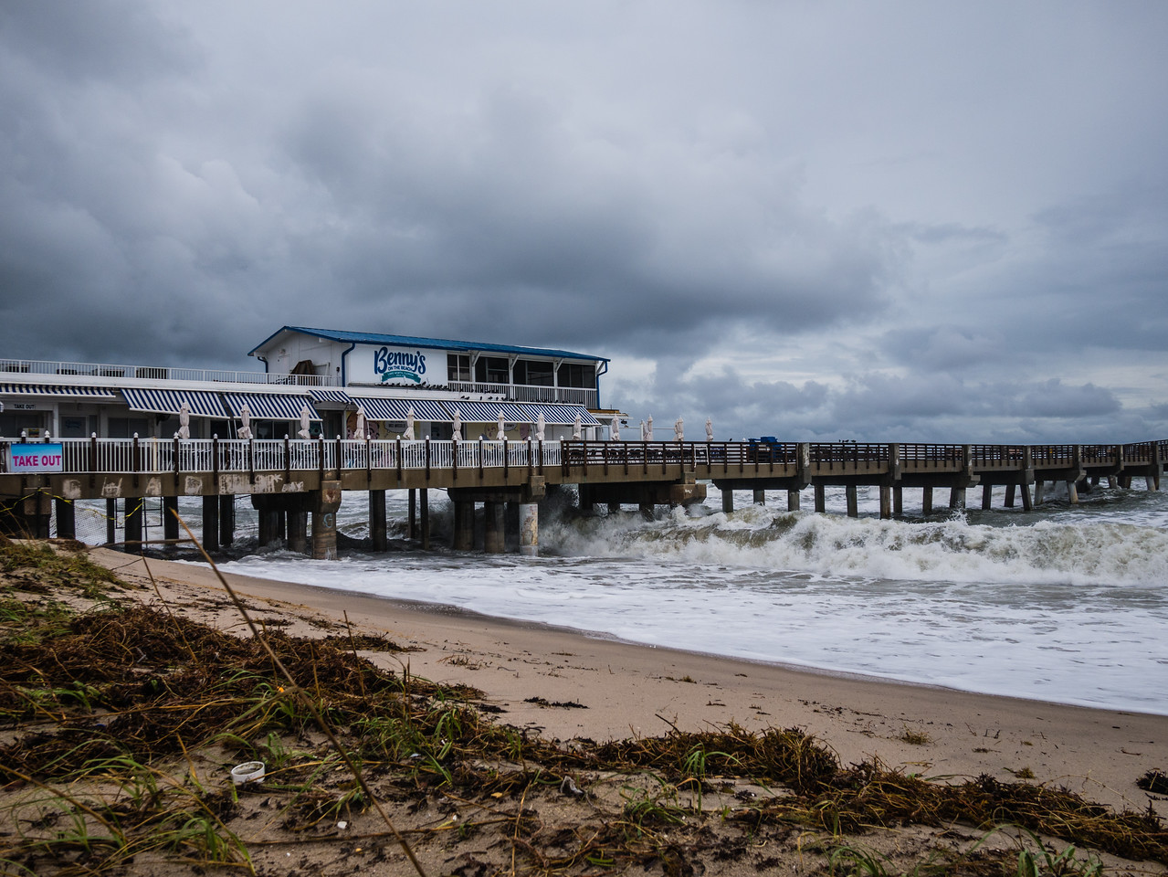 Heavy seas roar into the Lake Worth Pier in Lake Worth on Thursday, October 5, 2017. Palm Beach County will experience gusty winds and rain for the next several days from a tropical wave, which should clear the area Friday but leave trailing showers in its wake. (Joseph Forzano / The Palm Beach Post)