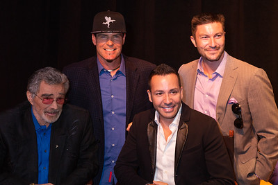 Burt Reynolds, Vanilla Ice, Howie Dorough and Chris Hayes pose together for a photo backstage before the start of the 2018 Palm Beach Film Festival Student Showcase of Film. The festival was held at the Wold Theater on the Lynn University Campus in Boca Raton on Friday, March 6, 2018.  (Joseph Forzano / The Palm Beach Post)