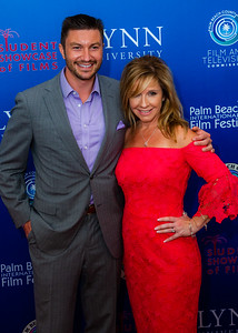 Actor Chris Hayes and Palm Beach County Deputy Film Commissioner Michelle Hillary stand together for a photo on the red carpet of the 2018 Palm Beach Film Festival Student Showcase of Film. The festival was held at the Wold Theater on the Lynn University Campus in Boca Raton on Friday, March 6, 2018.  (Joseph Forzano / The Palm Beach Post)
