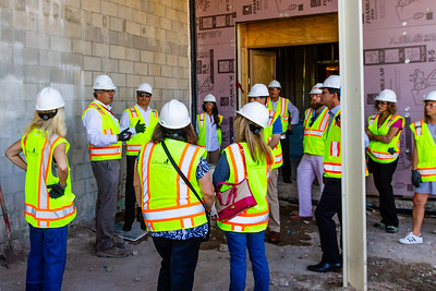 John Backman (second from left), Project Director, The New Norton, takes a group of Palm Beach Post staffers on a tour of the new construction at the Norton Museum of Art  in West Palm Beach on Tuesday, June 26, 2018. The New Norton is scheduled to open in February 2019. (Joseph Forzano / The Palm Beach Post)