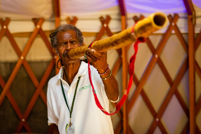 Joda Cook, a Master Didjeridoo Player and Vibrational Sound Healer, uses a Didgeridoo to relieve stress on Palm Beach Post reporter Wilkine Brutus at the Hippocrates Health Institute on Wednesday, June 27, 2018. (Joseph Forzano / The Palm Beach Post)