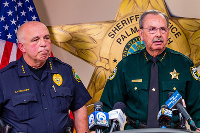 Palm Beach County Sheriff Ric Bradshaw and Palm Beach School Board Police Chief Frank Kitzerow, brief the media on the shooting that took place at Palm Beach Central High School on Saturday, August 18, 2018. (Joseph Forzano / The Palm Beach Post)