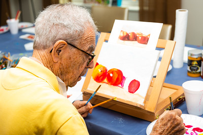 David Kliner, 98, works on a watercolor painting during an art class at Tradition at MorseLife in West Palm Beach on Wednesday, October 31, 2018. Kliner, a World War II veteran and retired dentist, has been a resident for one year and also enjoys sculpting and wood carving.  [JOSEPH FORZANO/palmbeachpost.com]