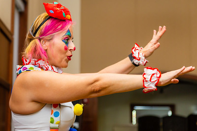 Leena Mazmanian, dressed as a clown for Halloween, instructs the Zuma exercise class for the residents at Tradition at MorseLife in West Palm Beach, on Wednesday, October 31, 2018. [JOSEPH FORZANO/palmbeachpost.com]