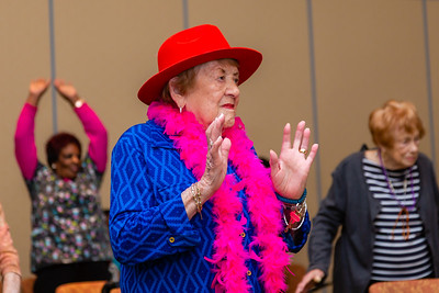 Rita Vogel, 91, participates in a Zuma exercise class at Tradition of MorseLife in West Palm Beach on Wednesday, October 31, 2018. Vogel has lived at Tradition for six years. [JOSEPH FORZANO/palmbeachpost.com]