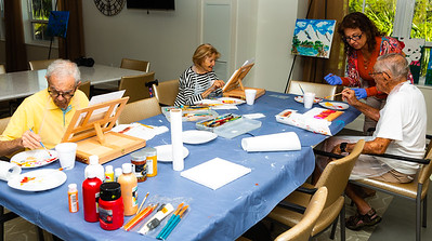 David Kliener (left), 98, Irene Meyerson, 94 and Norman Leefer (far right), 96 participate in an art class at Tradition of MorseLife in West Palm Beach on Wednesday, October 31, 2018. Suzanne Fico (second from right), has been teaching the art classes at Tradition for ten years. [JOSEPH FORZANO/palmbeachpost.com]