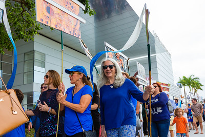 A festive procession animated by museum puppetry  designed by the Processional Arts Workshop and and created by community members march in front of the Norton Museum of the Arts in West Palm Beach, prior to the grand opening ceremony on Saturday, February 9, 2019. [JOSEPH FORZANO/palmbeachpost.com]