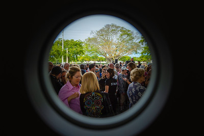 A look through the main door of the Norton Museum of the Arts at the crowd gathered for the grand opening of the museum on Saturday, February 9, 2019. [JOSEPH FORZANO/palmbeachpost.com]
