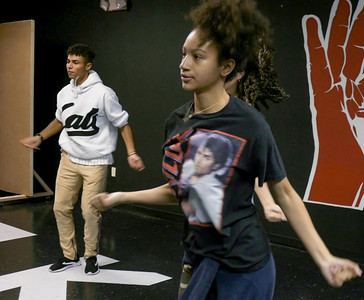Christian Pineiro and Sofia Casco learn new choreography from Jorge Dante Luna, better known as Flaco Luna, owner of Oganized Kaos Dance Academy in Lake Worth, on Tuesday, March 19, 2019. [JOSEPH FORZANO/palmbeachpost.com]