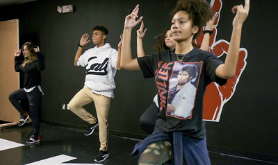P.J. Giordano, Christian Pineiro, Nyssa Figueroa and Sofia Casco learn new choreography from Jorge Dante Luna, better known as Flaco Luna, owner of Oganized Kaos Dance Academy in Lake Worth, on Tuesday, March 19, 2019. [JOSEPH FORZANO/palmbeachpost.com]