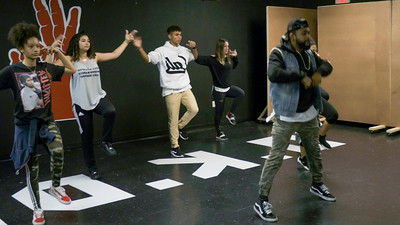 (From left to right Sofia Casco, Nyssa Figueroa, Christian Pineiro, P.J. Giordano and Flaco Luna). Jorge Dante Luna, better known as Flaco Luna (right), owner of Oganized Kaos Dance Academy in Lake Worth, teaches a group his students new choreography, on Tuesday, March 19, 2019. [JOSEPH FORZANO/palmbeachpost.com]