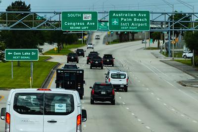 President Donald J. Trump's motorcade travels west on Southern Blvd.,  heading toward Trump International Golf Club on Saturday, March 30, 2019. [JOSEPH FORZANO/palmbeachpost.com]
