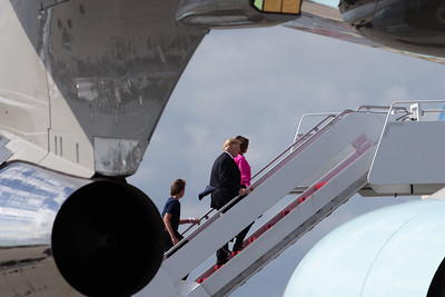 President Donald J. Trump boards Air Force One with Melania and Baron for the trip back to Washington D.C. on Sunday, March 31, 2019. [JOSEPH FORZANO/palmbeachpost.com]